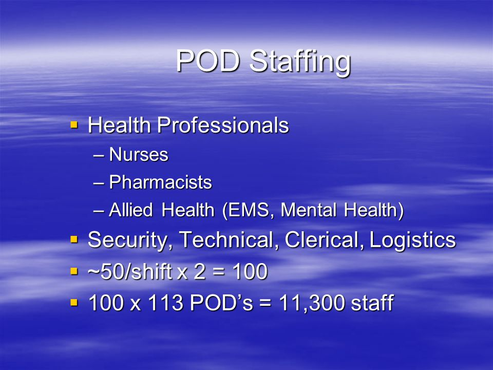 POD Staffing  Health Professionals –Nurses –Pharmacists –Allied Health (EMS, Mental Health)  Security, Technical, Clerical, Logistics  ~50/shift x 2 = 100  100 x 113 POD's = 11,300 staff