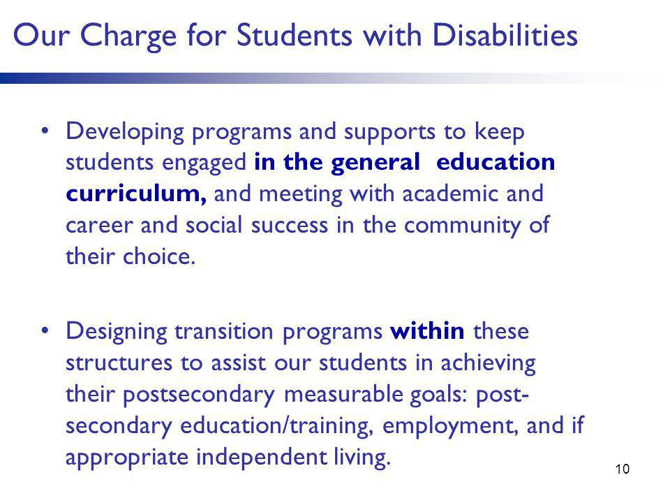 Our Charge for Students with Disabilities Developing programs and supports to keep students engaged in the general education curriculum, and meeting w