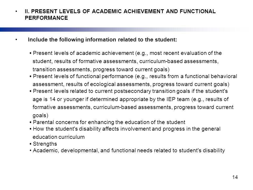 II. PRESENT LEVELS OF ACADEMIC ACHIEVEMENT AND FUNCTIONAL PERFORMANCE Include the following information related to the student: Present levels of acad