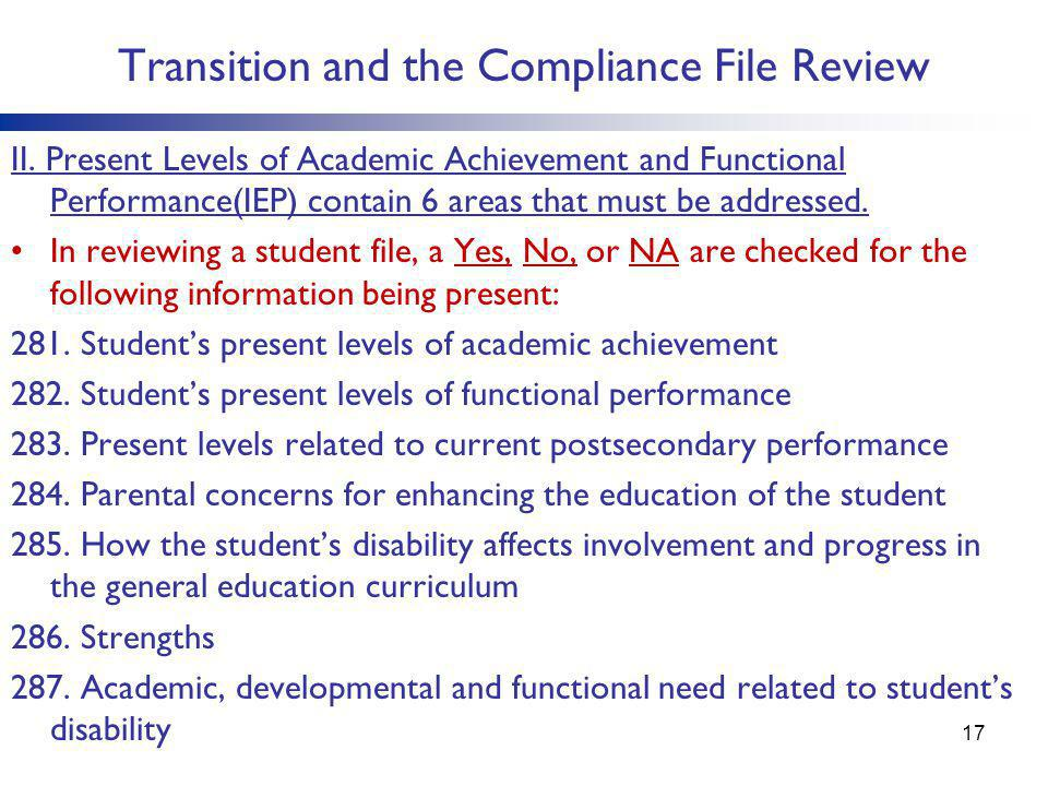 Transition and the Compliance File Review II. Present Levels of Academic Achievement and Functional Performance(IEP) contain 6 areas that must be addr