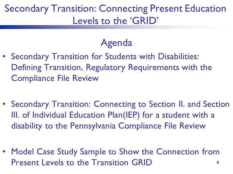 Secondary Transition: Connecting Present Education Levels to the 'GRID' Agenda Secondary Transition for Students with Disabilities: Defining Transitio