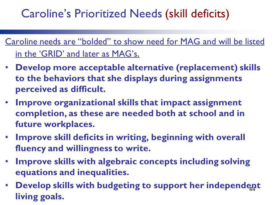 Caroline's Prioritized Needs (skill deficits) Caroline needs are bolded to show need for MAG and will be listed in the 'GRID' and later as MAG's.