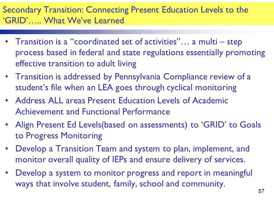"""Secondary Transition: Connecting Present Education Levels to the 'GRID'….. What We've Learned Transition is a """"coordinated set of activities""""… a multi"""