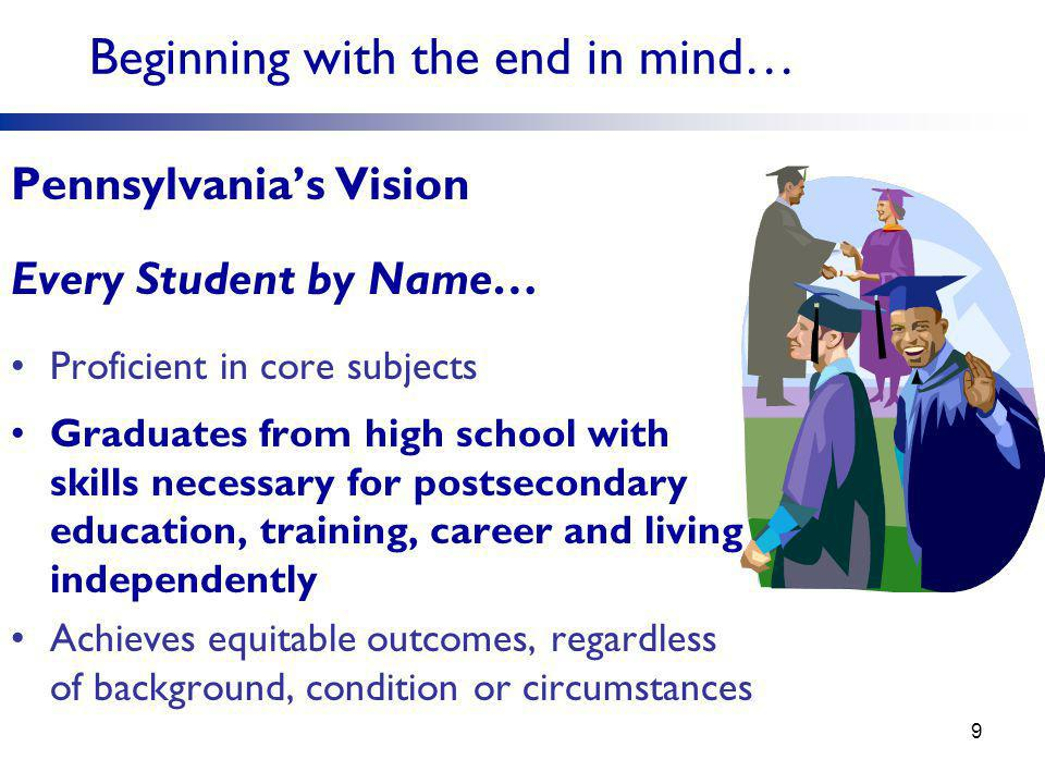 Pennsylvania's Vision Every Student by Name… Proficient in core subjects Graduates from high school with skills necessary for postsecondary education, training, career and living independently Achieves equitable outcomes, regardless of background, condition or circumstances Beginning with the end in mind… 9