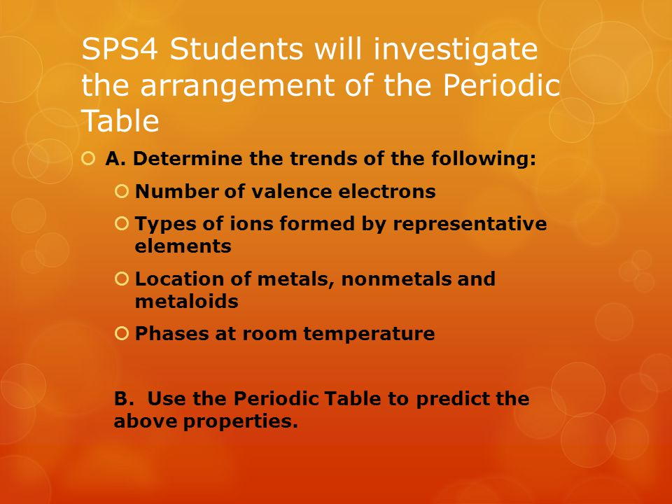 Section 5.1 – Organizing the Elements  A periodic table is an arrangement of elements in columns, based on a set of properties that repeat from row to row.