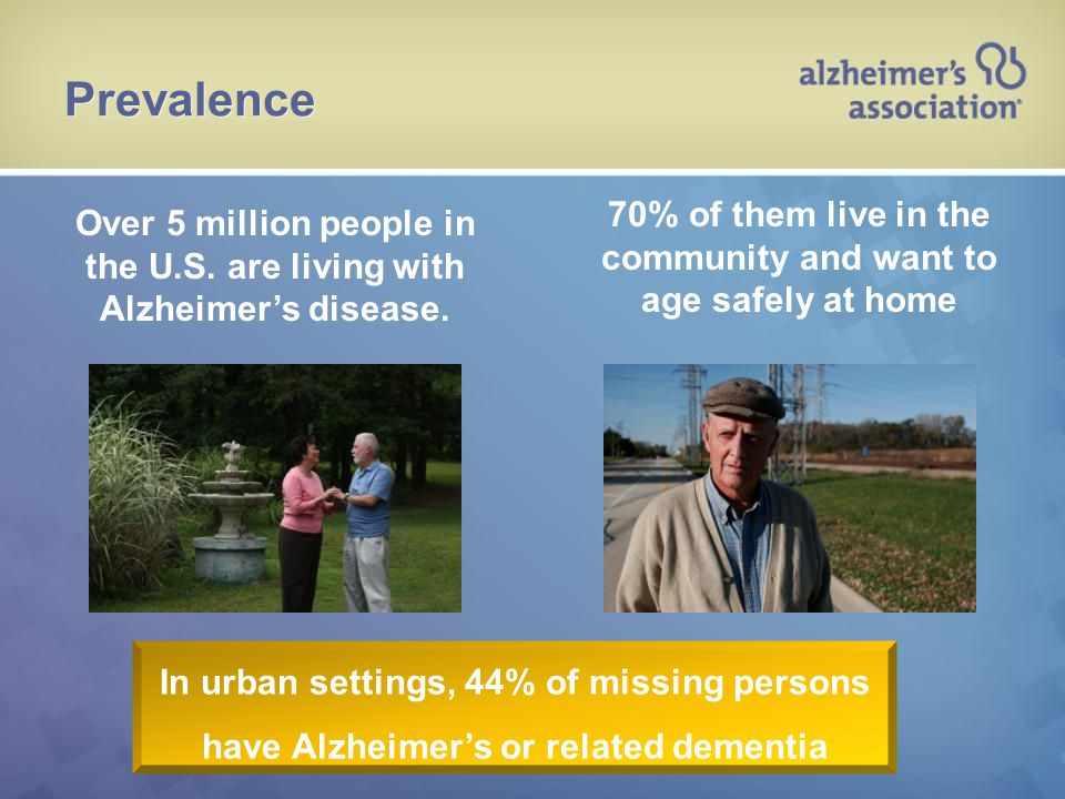 Over 5 million people in the U.S. are living with Alzheimer's disease. 70% of them live in the community and want to age safely at home Prevalence In