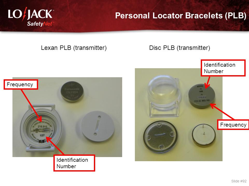Personal Locator Bracelets (PLB) Slide #92 Lexan PLB (transmitter) Disc PLB (transmitter) Identification Number Frequency Identification Number