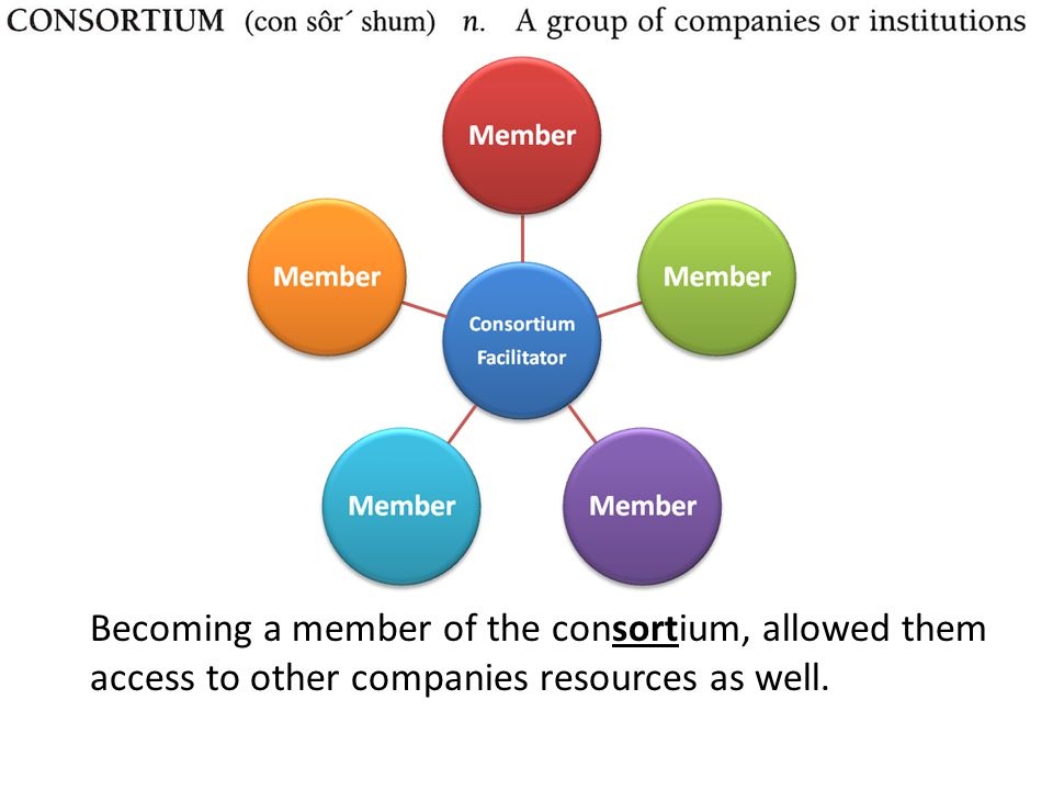 Becoming a member of the consortium, allowed them access to other companies resources as well.