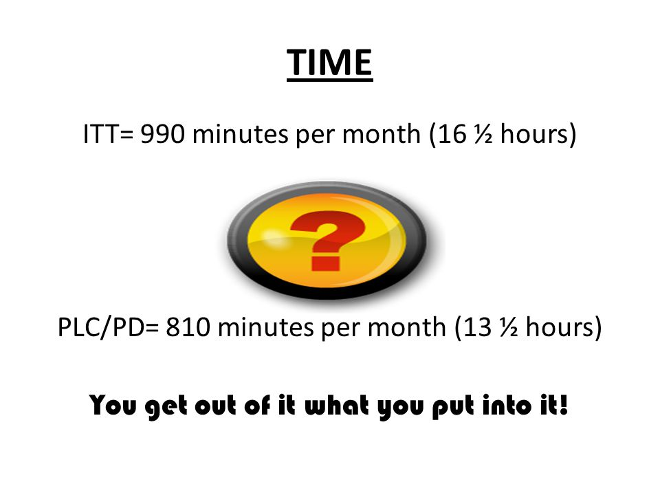 TIME ITT= 990 minutes per month (16 ½ hours) PLC/PD= 810 minutes per month (13 ½ hours) You get out of it what you put into it!