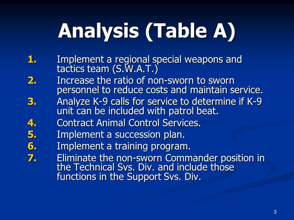 3 Analysis (Table A) 1.Implement a regional special weapons and tactics team (S.W.A.T.) 2.Increase the ratio of non-sworn to sworn personnel to reduce