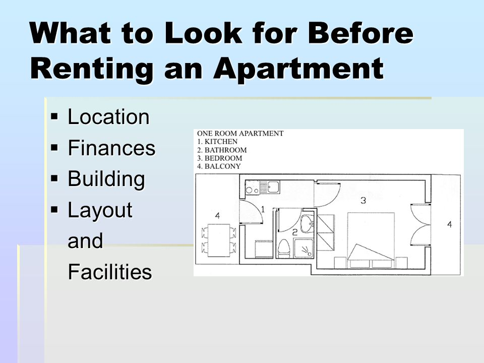 What to Look for Before Renting an Apartment  Location  Finances  Building  Layout andFacilities