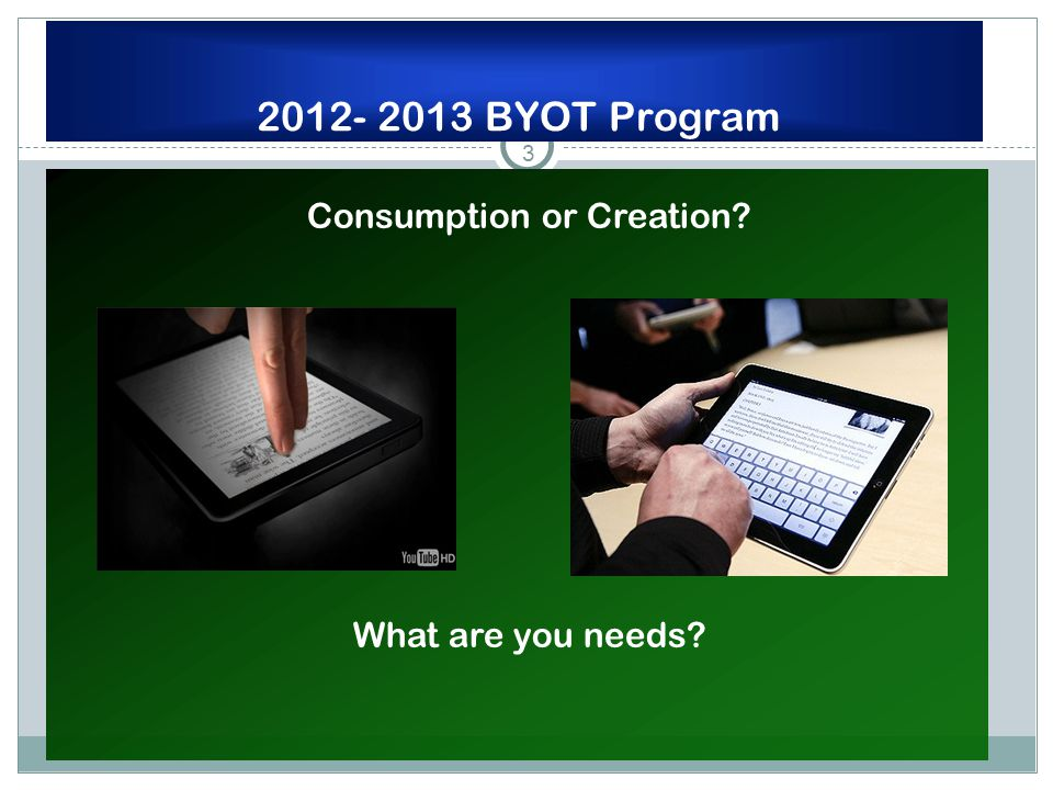 3 2012- 2013 BYOT Program Consumption or Creation What are you needs