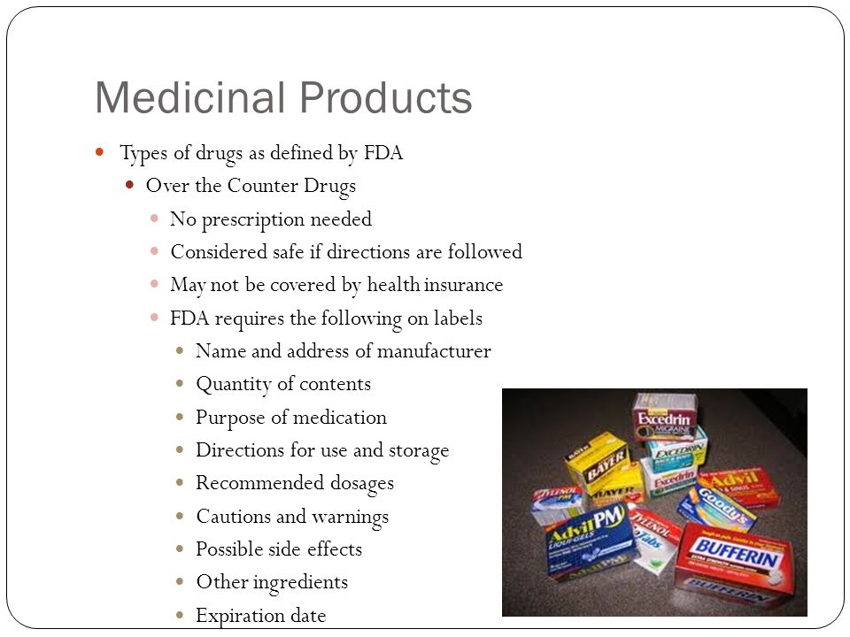 Medicinal Products Types of drugs as defined by FDA Over the Counter Drugs No prescription needed Considered safe if directions are followed May not be covered by health insurance FDA requires the following on labels Name and address of manufacturer Quantity of contents Purpose of medication Directions for use and storage Recommended dosages Cautions and warnings Possible side effects Other ingredients Expiration date