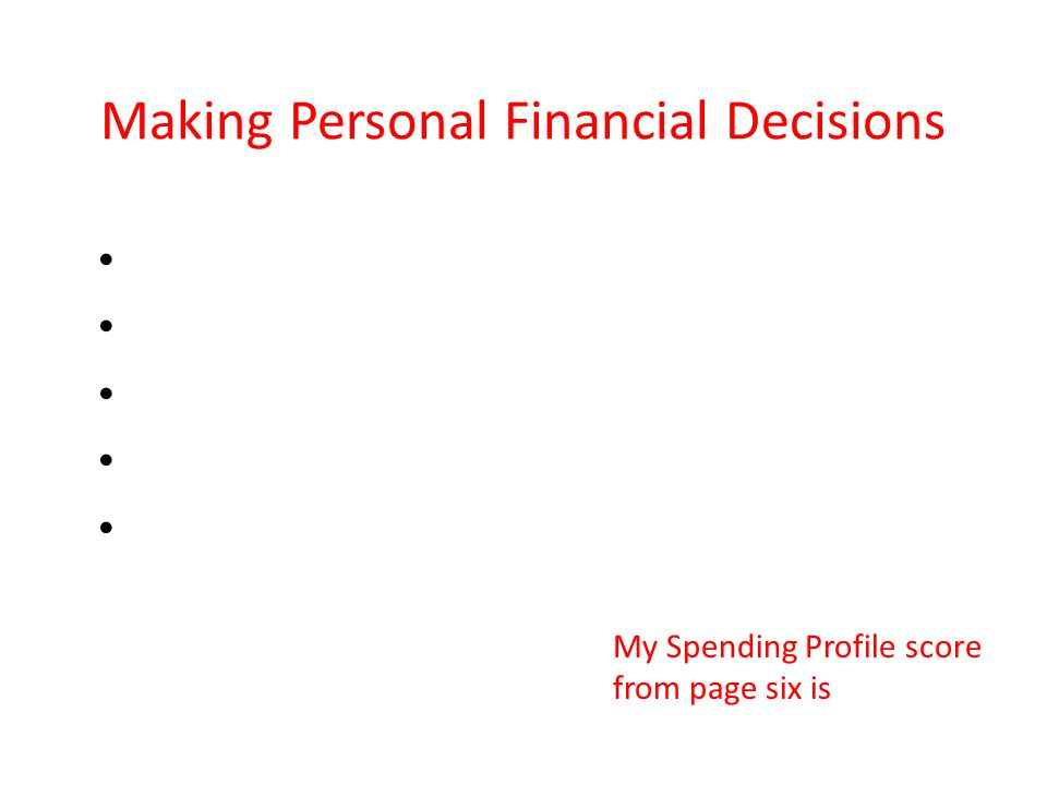 Making Personal Financial Decisions My Spending Profile score from page six is