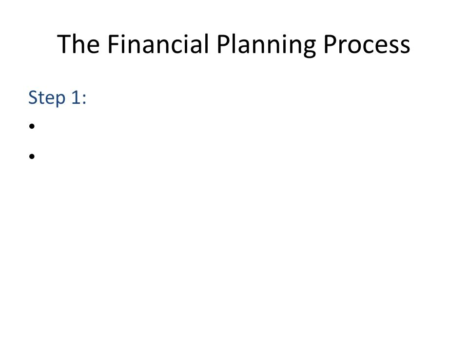 The Financial Planning Process Step 1: