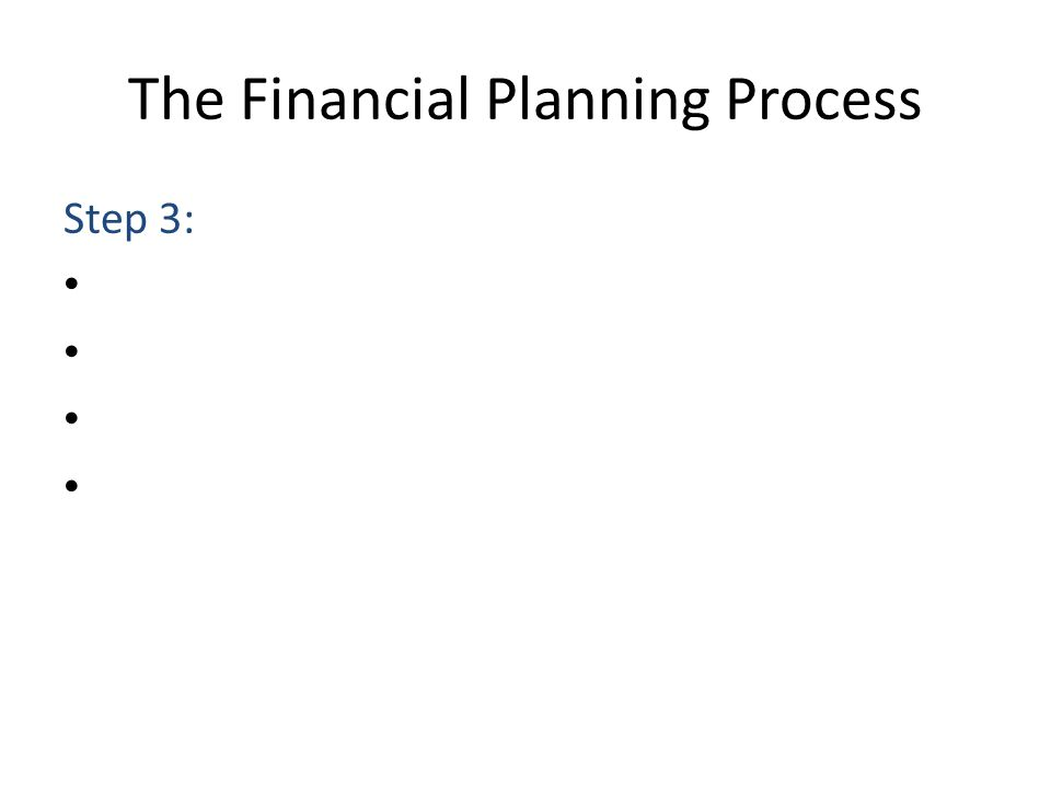 The Financial Planning Process Step 3: