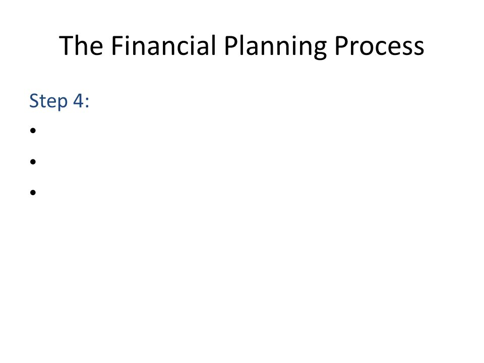 The Financial Planning Process Step 4: