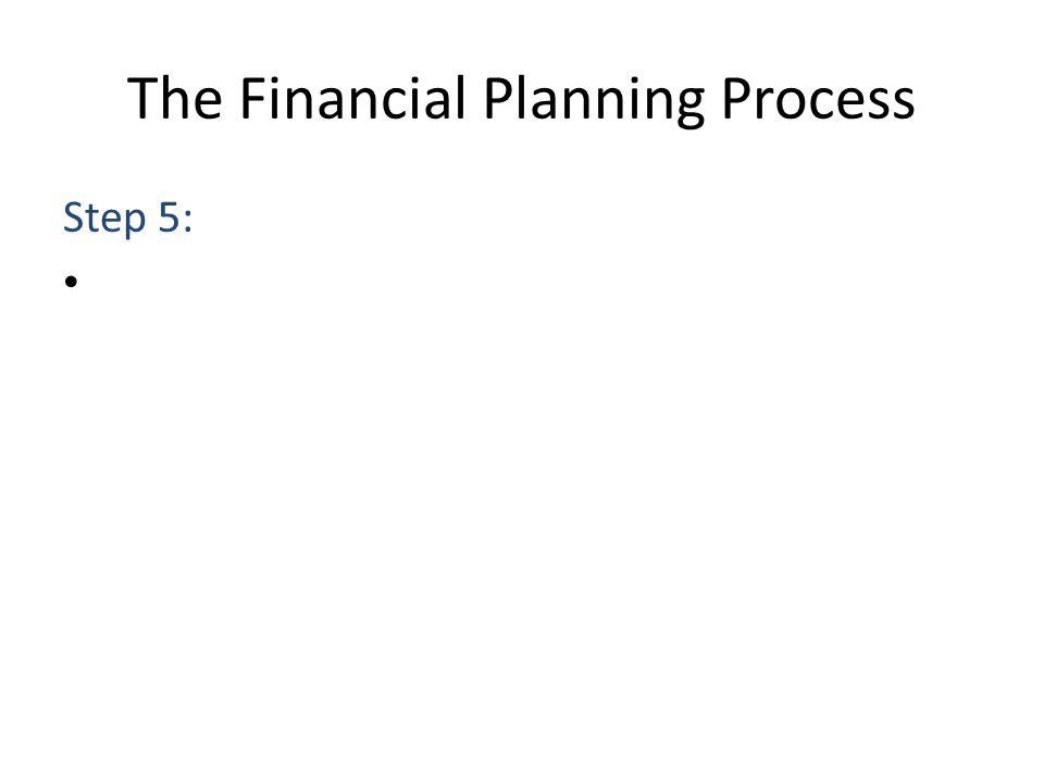 The Financial Planning Process Step 5: