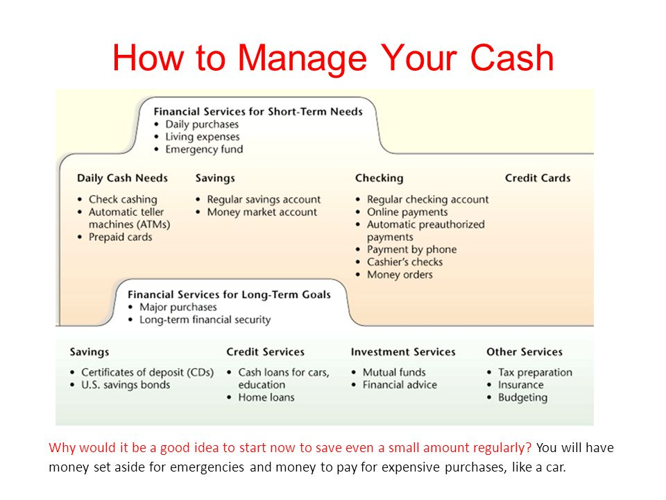 How to Manage Your Cash Why would it be a good idea to start now to save even a small amount regularly? You will have money set aside for emergencies