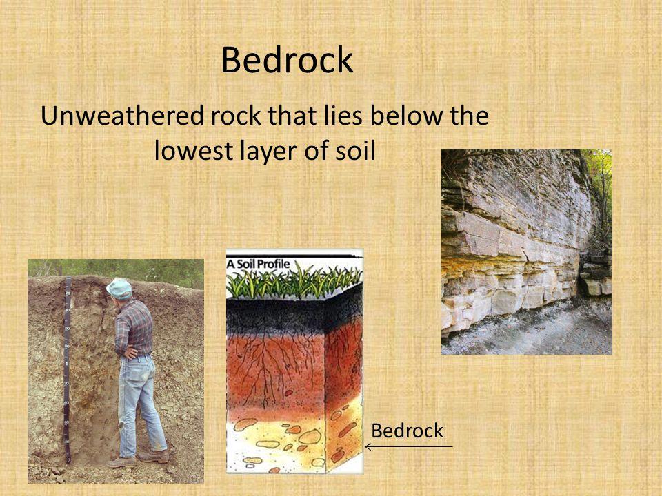 Bedrock Unweathered rock that lies below the lowest layer of soil Bedrock