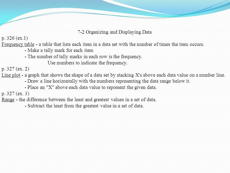 7-2 Organizing and Displaying Data p.