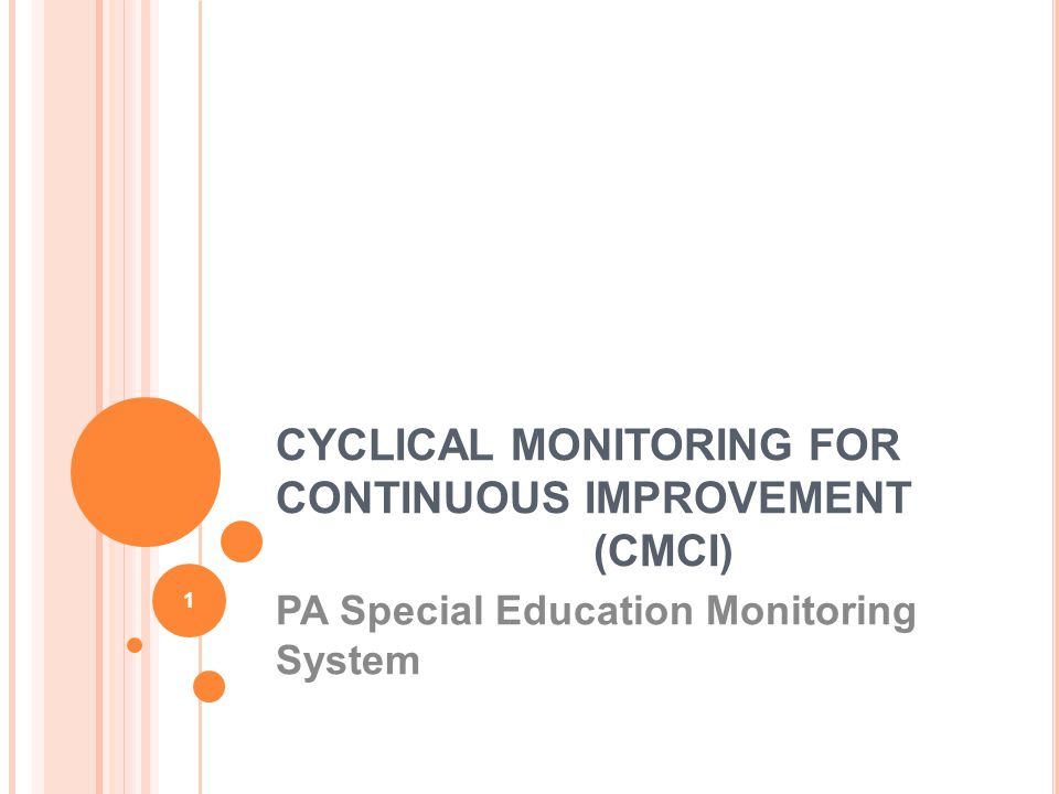 CYCLICAL MONITORING FOR CONTINUOUS IMPROVEMENT (CMCI) PA Special Education Monitoring System 1