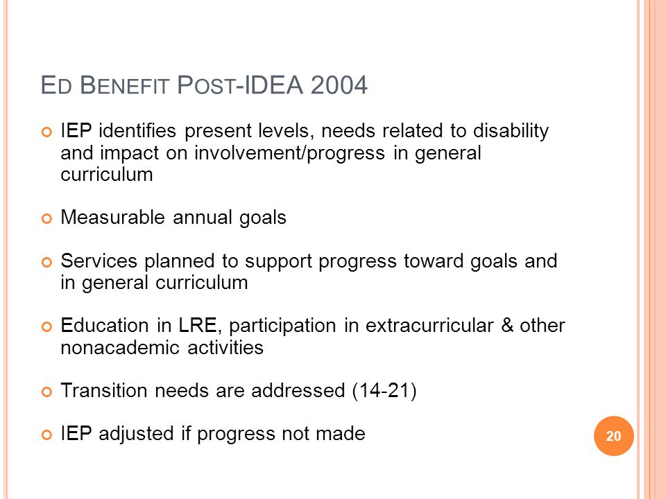 E D B ENEFIT P OST -IDEA 2004 IEP identifies present levels, needs related to disability and impact on involvement/progress in general curriculum Meas