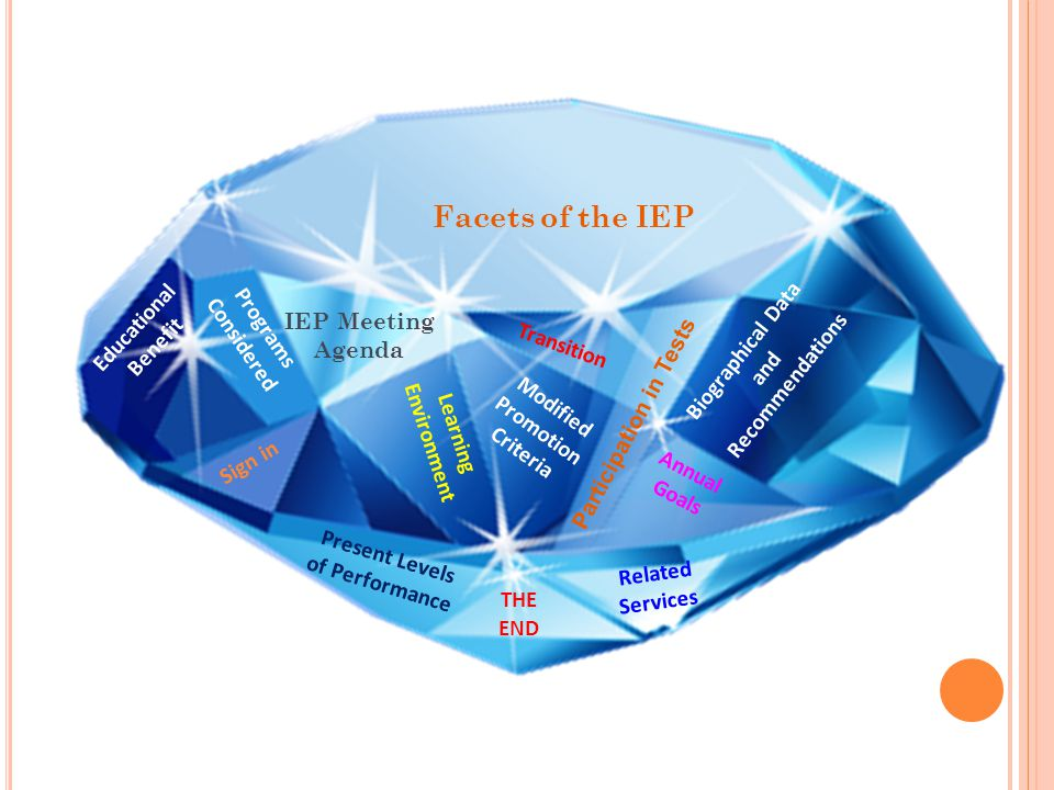 47 Facets of the IEP Educational Benefit IEP Meeting Agenda Biographical Data and Recommendations Sign in Present Levels of Performance Annual Goals L