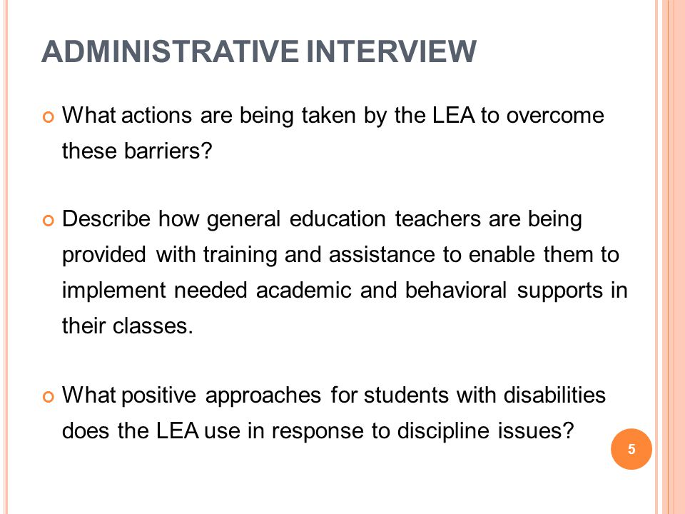 TEACHER INTERVIEW (GENERAL EDUCATION) Are you familiar with the content of this student s current IEP, including accommodations, supplementary aids and services, and annual goals.