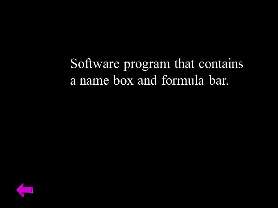 Software program that contains a name box and formula bar.