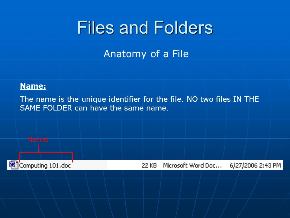 Files and Folders Anatomy of a File Extension: The extension refers to what KIND of data the file is.