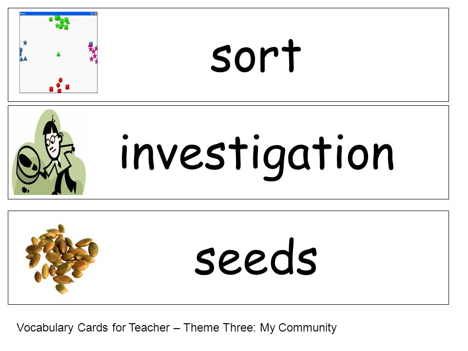 investigation seeds sort Vocabulary Cards for Teacher – Theme Three: My Community