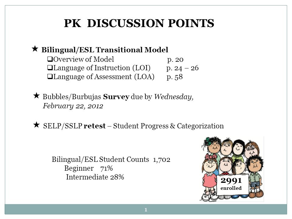 Bilingual/ESL Transitional Model  Overview of Model p.
