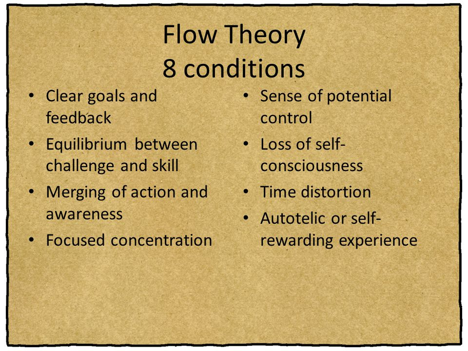 Flow Theory 8 conditions Sense of potential control Loss of self- consciousness Time distortion Autotelic or self- rewarding experience Clear goals an