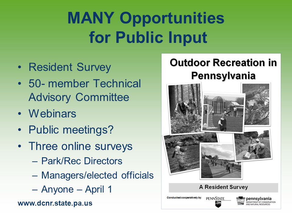 www.dcnr.state.pa.us Plan Website