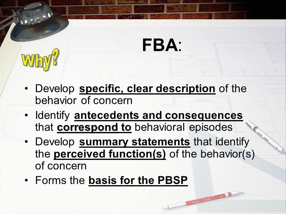 Group Activity Form Groups of 4 to 5 Choose student to conduct an FBA Choose tools to conduct FBA Create PBSP Report Out