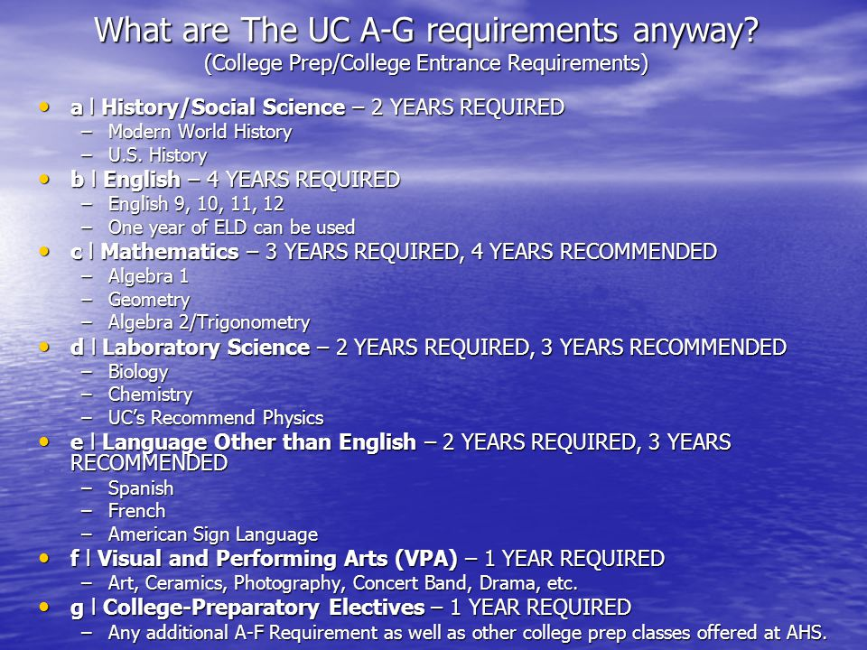 What are The UC A-G requirements anyway.