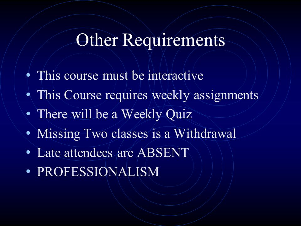 Other Requirements This course must be interactive This Course requires weekly assignments There will be a Weekly Quiz Missing Two classes is a Withdr