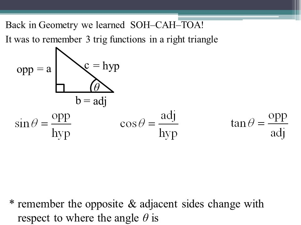 Some basic solving: Ex 1) Solve for a and c. (Degree mode!) 42° a 20 c B C A