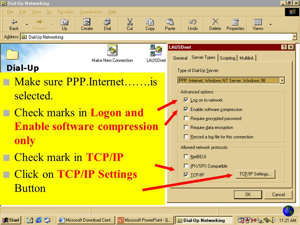 n Insure that information is correct n Click on Server Types tab