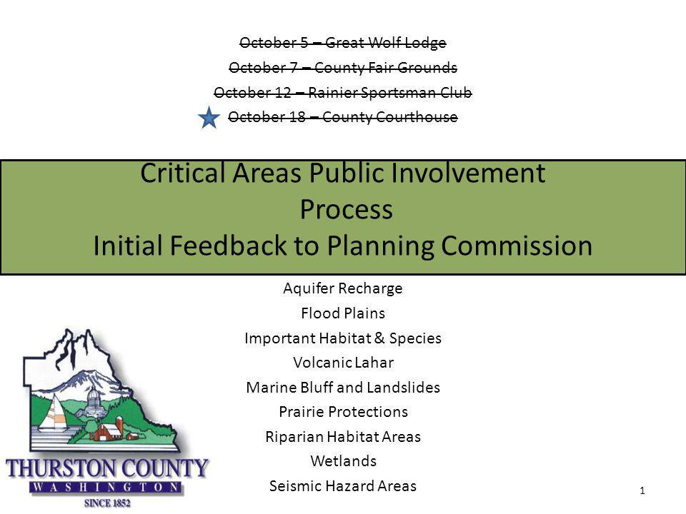 Critical Areas Continuous and Open Public Engagement Process Website: thurstonplanning.org – Virtual Open House – Webmail Postings of open houses Posting of meetings 416 subscribers as of today – Approximately 150 before Open Houses started.