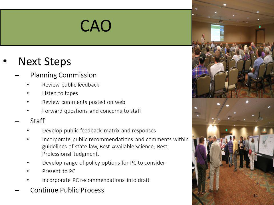 CAO Next Steps – Planning Commission Review public feedback Listen to tapes Review comments posted on web Forward questions and concerns to staff – Staff Develop public feedback matrix and responses Incorporate public recommendations and comments within guidelines of state law, Best Available Science, Best Professional Judgment.
