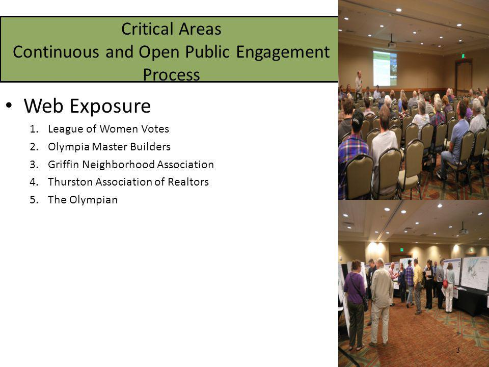 Critical Areas Continuous and Open Public Engagement Process Web Exposure 1.League of Women Votes 2.Olympia Master Builders 3.Griffin Neighborhood Association 4.Thurston Association of Realtors 5.The Olympian 3