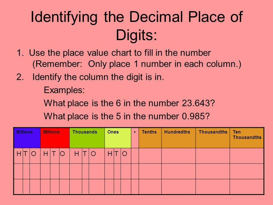 Identifying the Decimal Place of Digits: 1. Use the place value chart to fill in the number (Remember: Only place 1 number in each column.) 2.Identify