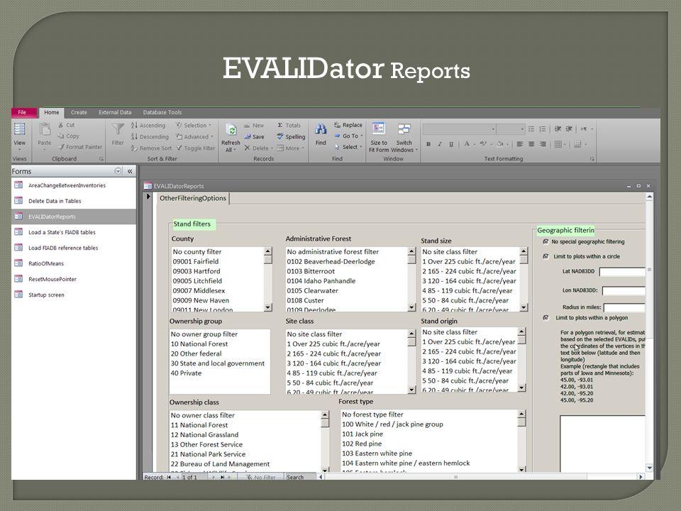 EVALIDator Reports