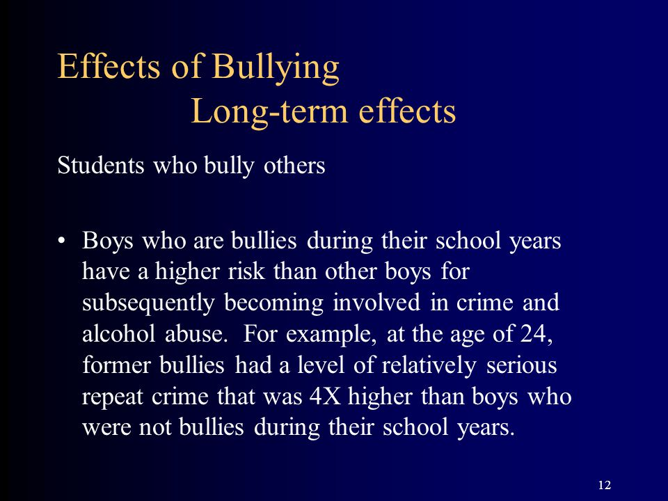 12 Effects of Bullying Long-term effects Students who bully others Boys who are bullies during their school years have a higher risk than other boys for subsequently becoming involved in crime and alcohol abuse.