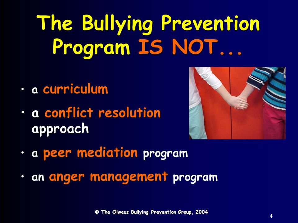 15 On-the-spot Interventions 1.Stop the bullying 2.Support the target 3.Name the bullying behavior 4.Refer to the school rules 1.We will not bully others.