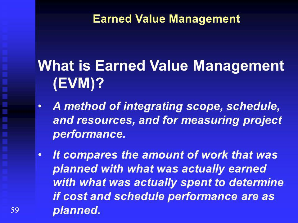 What is Earned Value Management (EVM).