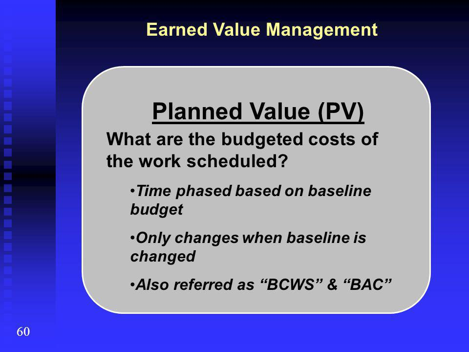 Planned Value (PV) What are the budgeted costs of the work scheduled.