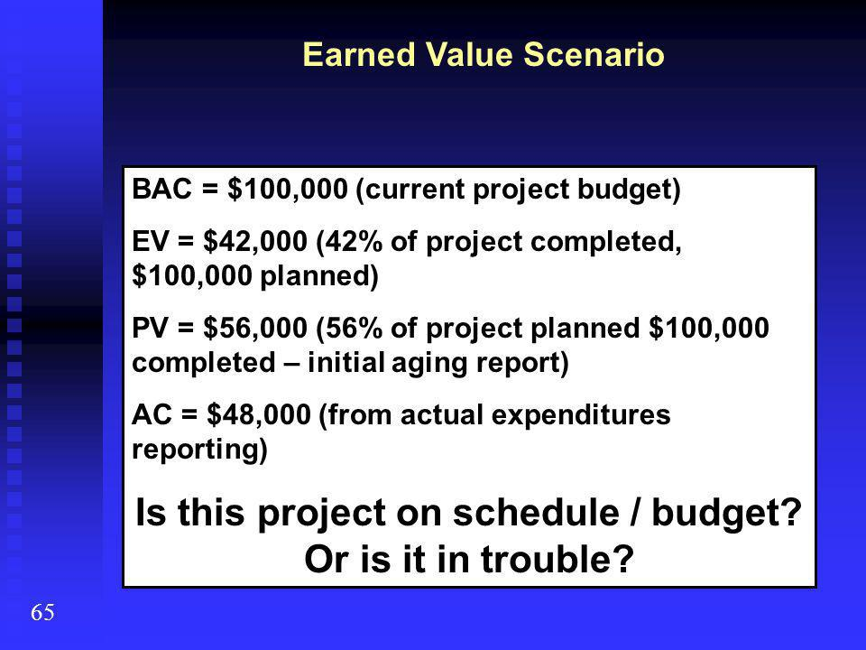 Earned Value Scenario 65 BAC = $100,000 (current project budget) EV = $42,000 (42% of project completed, $100,000 planned) PV = $56,000 (56% of project planned $100,000 completed – initial aging report) AC = $48,000 (from actual expenditures reporting) Is this project on schedule / budget.